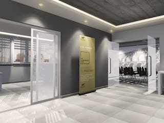 Lobby de acceso: Oficinas y Tiendas de estilo  por Comma - Oficina de arquitectura