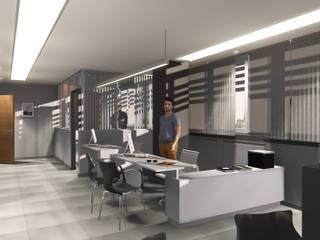 Oficina de trabajo [Administración]: Oficinas y Tiendas de estilo  por Comma - Oficina de arquitectura