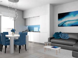 Cucina e Living - Rendering:  in stile  di Area Visuale