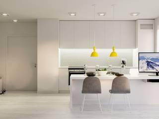 Wnętrze w bieli. Minimalistyczna kuchnia od NUKO STUDIO Minimalistyczny