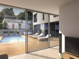 Maison d'architecte neuve avec terrain et piscine près de Lyon: Jardin de style  par Groupe SOBÖ