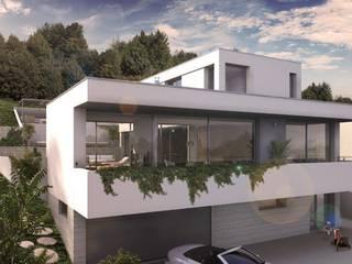 Maison d'architecte neuve avec terrain et piscine près de Lyon: Maisons de style  par Groupe SOBÖ