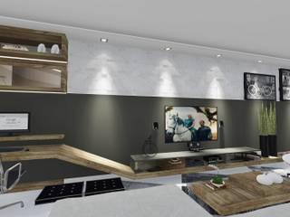 INTERIOR RESIDENCIAL: Salas de estar  por MILENA CASAGRANDE ARQUITETURA