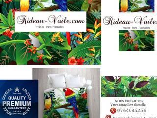 Décoration d'intérieure à motifs oiseaux: rideaux, stores, coussins, housse de couettes imprimés d'oiseaux:  de style tropical par Rideau-voile, Tropical