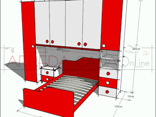 Cameretta rossa e bianca - soluzione su misura: Camera da letto in stile in stile Moderno di ARREDACASAOnLine