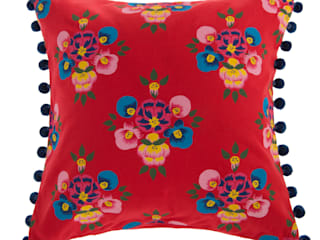 Bright Red Floral Splash cushion by Jasmine White London: classic  by Jasmine White London, Classic