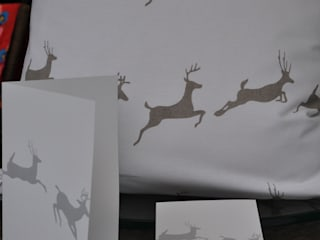 Leaping Stag Cushion in Grey by Jasmine White London:   by Jasmine White London