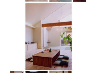 車作の家(アール屋根と吹抜けを持つ鉄骨住宅) ATS造家設計事務所 オリジナルデザインの リビング 無垢材 白色