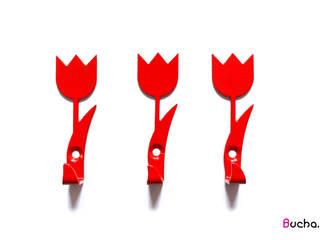 Tulipan wieszak na ubrania, ręczniki, klucze, Tulipany czerwony: styl , w kategorii  zaprojektowany przez Bucha