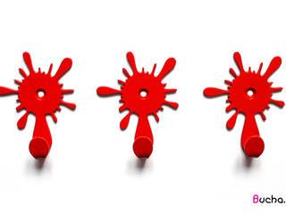 Kleks pojedynczy wieszak na ubrania, klucze, ręczniki czerwony: styl , w kategorii  zaprojektowany przez Bucha