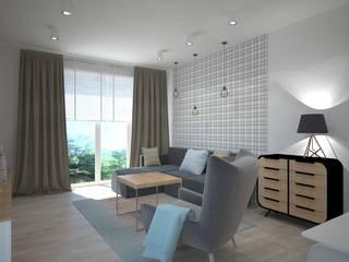 Mieszkanie na Mokowie Skandynawski salon od ZAWICKA-ID Projektowanie wnętrz Skandynawski
