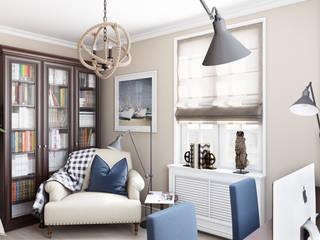 Дизайн гостиной, кабинета и гардеробной: Рабочие кабинеты в . Автор – студия визуализации и дизайна интерьера '3dm2', Минимализм