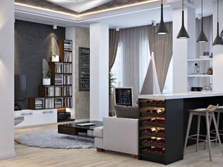 Дизайн интерьера дома для молодой семьи: Гостиная в . Автор – студия визуализации и дизайна интерьера '3dm2'