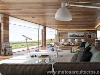 House by River side Ruang Keluarga Modern Oleh Matos Architects Modern