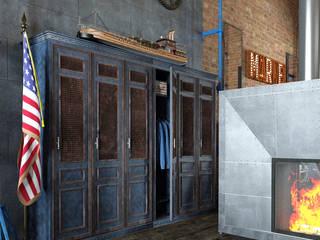 """Дизайн интерьера в стиле """"Captain America"""". : Гостиная в . Автор – Yurov Interiors,"""
