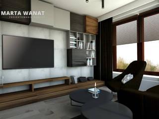 Salon w szarościach: styl , w kategorii  zaprojektowany przez Marta Wanat Projektowanie Wnętrz