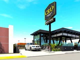 Cru Coffee Roasters & Cellars: Restaurantes de estilo  por Grupo ARK+OS Arquitectos