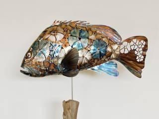 Sculpture Inox Mérou Flowers  - Grouper:  de style  par RYBA