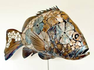 Sculpture Inox Mérou Flowers - Grouper par RYBA Industriel