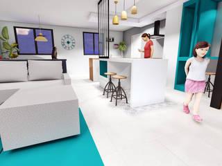 aménagement intérieur d'une pièce de vie style industrielle Cuisine industrielle par retsatelier architecture et décoration Industriel