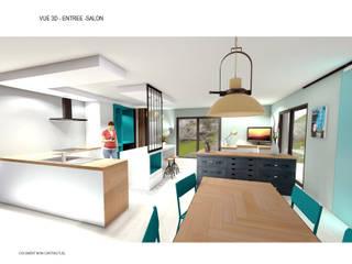 aménagement intérieur d'une pièce de vie style industrielle par retsatelier architecture et décoration Industriel