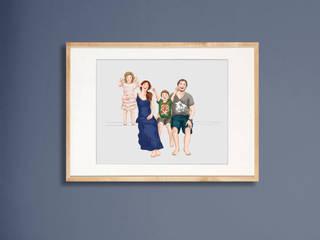 Moderne Familien Portraits von Familie kleiner Tiere Skandinavisch