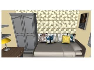 Vue du mur du fond: Chambre de style  par L'Oeil DeCo