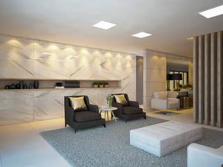 Áreas sociais de um Edifício Multifamiliar Corredores, halls e escadas modernos por Tárcyla & Savane Arquitetas Associadas Moderno