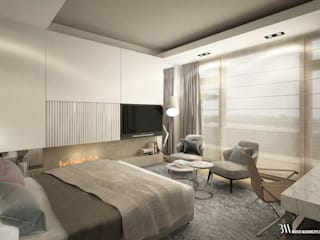 Apartament w Kołobrzegu: styl , w kategorii Sypialnia zaprojektowany przez Bartek Włodarczyk Architekt