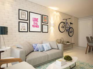 Apartamento L   D Salas de estar modernas por Tárcyla & Savane Arquitetas Associadas Moderno