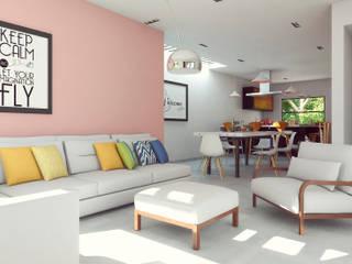 Laboratorio Mexicano de Arquitectura Minimalist living room Concrete Pink