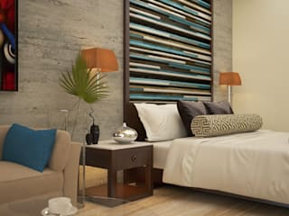 Bed headboard Asian style bedroom by Vaibhav Patel & Associates Asian Engineered Wood Transparent