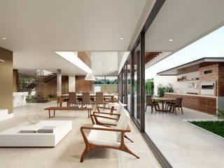 Casa C: Salas de estar  por Martins Lucena Arquitetos,Minimalista