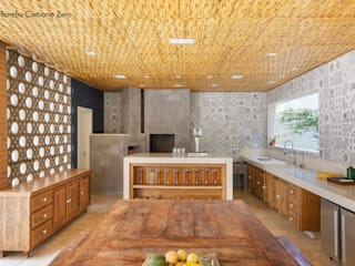 BAMBU CARBONO ZERO Rustic style kitchen Bamboo Wood effect