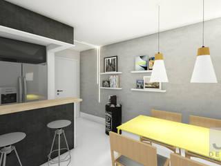 Estudo Apartamento Jacarepaguá: Salas de jantar  por JS Interiores,Moderno