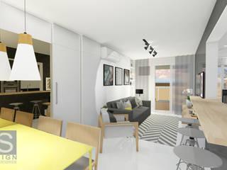 Estudo Apartamento Jacarepaguá: Salas de estar  por JS Interiores,Moderno