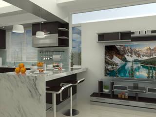 Cocinas de estilo moderno de homify Moderno Madera maciza Multicolor