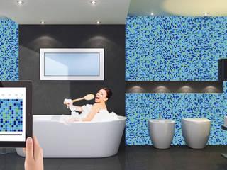 Badkamer afwerking : uniek glasmozaiek:   door MyMosaic