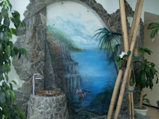 роспись-аэрография Зимнего сада Стены и пол в тропическом стиле от Художественная мастерская 'Оникс' Тропический