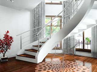 Modern Corridor, Hallway and Staircase by A.P. RUD Schody Modern
