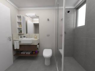 Banheiro - cimento queimado: Banheiros  por Arquiteto em Casa