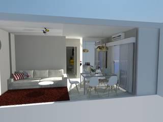Apartamento Puerto Rey: Salas de estar  por Arquitetura Pâmela Caminski