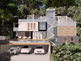 casa conteiner de alto padrão: Casas  por Arquitetura Pâmela Caminski