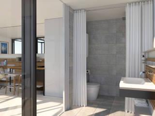 Badezimmer mit Regalsystem INPIANO Eiche | Weiß Innenarchitektur | Ina Nimmrichter Skandinavische Badezimmer