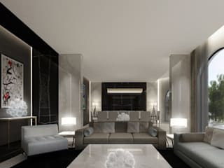 Exploring Luxurious Homes : Trendy Living Room Design IONS DESIGN Modern living room Marble Grey