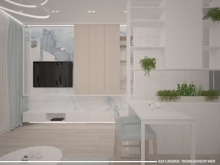 Mieszkanie pod wynajem 31m2: styl , w kategorii Salon zaprojektowany przez BAJOR&ORLIKOWSKA PRACOWANIA ARCHITEKTURY WNĘTRZ