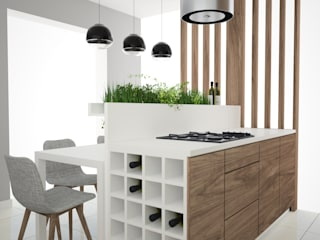 OES architekci Modern kitchen Wood-Plastic Composite White