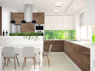 OES architekci Modern kitchen MDF White
