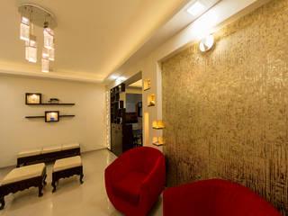 Wall Highlight with Wallpaper Navmiti Designs Modern walls & floors