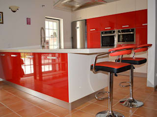 Ansidecor Modern Kitchen Engineered Wood Red